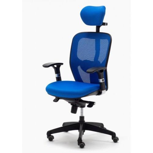 Silla Ergonómica PEGASO Color Azul, con Cabecero y Soporte Lumbar Regulable