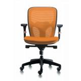 Silla Ergonómica PEGASO, Color Naranja y Brazos Regulables 2D y Apoyabrazos de Goma