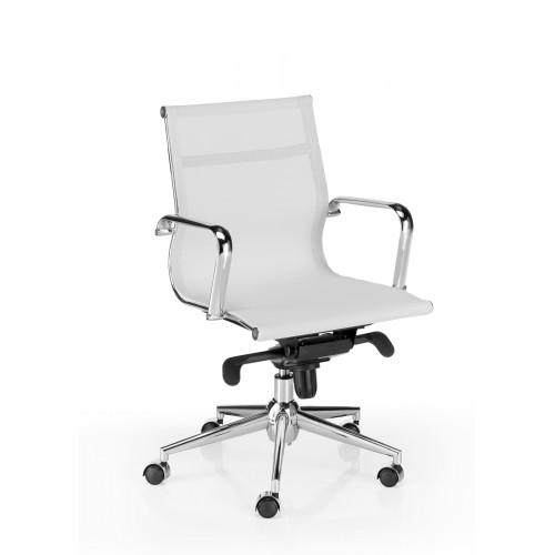 Sillón de Oficina Malla Blanca CEFEO, Respaldo Bajo y Estructura Cromada