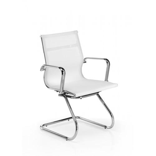 Sillón de Confidente Ecopiel Color Blanco CEFEO, Alta Resistencia y Estructura Cromada